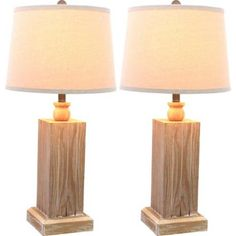 Winterbourne Distressed Natural Table Lamp Set of 2