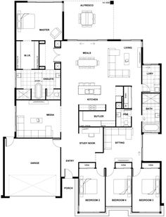 Floor Plan Friday: Huge master, open plan, lots of space a plan with a few different features you might like. It has the basics 4 bedroom, study nook, media room and a big. Open House Plans, House Layout Plans, Craftsman House Plans, Dream House Plans, House Layouts, House Floor Plans, Home Design Floor Plans, Murphy Bed Plans, House Blueprints
