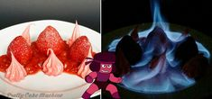 Recipe: (Steven Universe Dessert Series, Pt. 4&5) Sapphire's Blueberry Quark Sundae & Ruby's Strawberry Pink Peppercorn Flambé | Pretty Cake Machine