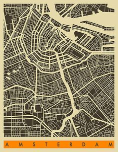 Amsterdam Map by JazzberryBlue - Art Design - Map