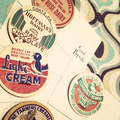 'Wholesome' Brooches by Sweet Repeats. #milk #vintage #label #graphics #brooch #badge #sweetrepeats #craft #indie #handmade #retro #cute