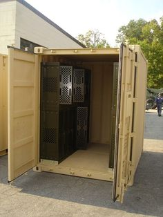 GSA Military Weapons Racks in a 10ft. by 10ft. container. Stanley Vidmar Military container storage. Great 10 ft. by 10 ft.