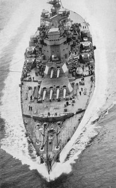 HMS King George V. Aerial view of the British battleship King George V, Flagship of Admiral Sir John Tovey, Commander-in-Chief, Home Fleet.