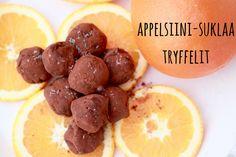 Karkkipäivä: Appelsiinisuklaa-tryffelit (viljaton, luonnollisesti makeutettu, maidoton, pähkinätön, munaton)