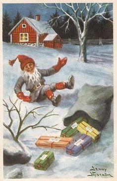 peintre illust jenny nystrom - Page 7 Swedish Christmas, Scandinavian Christmas, Christmas Elf, Vintage Christmas, Christmas Crafts, Vintage Greeting Cards, Vintage Postcards, Most Popular Artists, Baumgarten