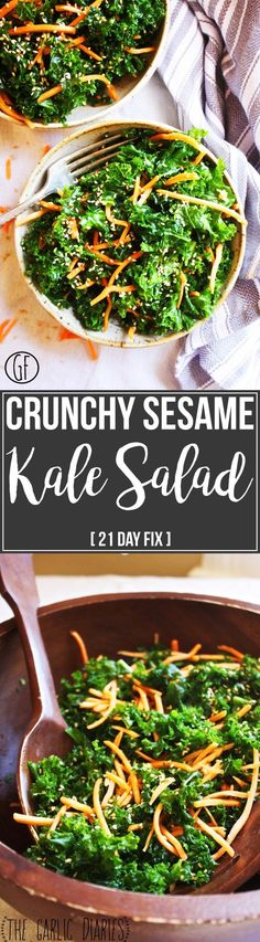 21 Day Fix Approved Crunchy Sesame Kale Salad is refreshing, delicious, and healthy! // 21 Day Fix // 21 Day Fix Approved // fitness // fitspo motivation // Meal Prep // Meal Plan // Sample Meal Plan// diet // nutrition // Inspiration // fitfood // fitfam // clean eating // recipe // recipes