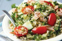 20 easy and healthy quinoa recipes Quinoa Tabouleh, Quinoa Salat, Healthy Cooking, Cooking Recipes, Healthy Recipes, Delicious Recipes, Recipes Using Smoked Salmon, Mediterranean Quinoa Salad, Salmon Salad