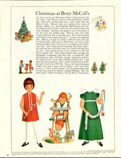 Vintage December 1966 Magazine Paper Doll Christmas at Betsy McCall's