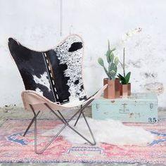 Vlinderstoel Koeienhuid Donker
