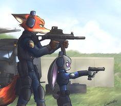 Nick and Judy in firing range by oLEEDUEOLo on DeviantArt