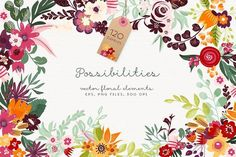 Possibilities - floral elements by Bloomart Webvilla on @creativemarket