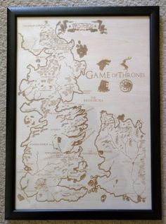 Laser Engraved Westeros Map by Lasaris - Game of thrones map https://www.etsy.com/listing/232102220/wooden-westeros-map-laser-engraved-game
