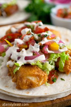 These Fish Tacos have fantastic and unexpected flavors. And the crispy fish batter is the best I've had - light and perfectly crispy! After the fish tacos in Kauai, I want some more! Fish Recipes, Seafood Recipes, Mexican Food Recipes, Cooking Recipes, Healthy Recipes, Tilapia Recipes, Cooking Tips, Fish Dishes, Seafood Dishes