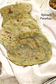 Spinach Paratha flatbread - Yeast free - Vegan Richa