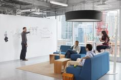 Reebok uses IdeaPaint to cover the entire wall space in a large communal area. Every Monday morning, the Reebok sports apparel designers use their idea wall to draw concepts for new designs, then invite their colleagues to give feedback on those designs or provide additional new ideas by writing them on the same wall.