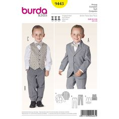 dressed in a suit like dad. jacket with lapels, flap pockets and small welt top   left. classic pants with crease and slant pockets. vest with lined back and bar tack for festive occasions.