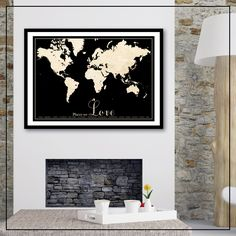 * FREE SHIPPING AUSTRALIA WIDE *    Gorgeous vintage style world map poster.    A different twist on my very popular tram scroll print. Could be places you have lived, places your family live or come from, places you have been to, places you want to go to - your 'bucket list', or even just places that hold a special spot in your heart . Great conversation starter and reminder of memories x    Printed on 230gsm durable paper with a matt satin finish using fade resistant pigment ink at a high…
