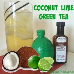 Coconut lime green tea, I love you! Here's an iced tea with all the benefits of green tea and the flavor of the tropics, without the guilt!