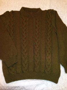 Man's aran sweater I hand knitted using free garnstudio pattern.