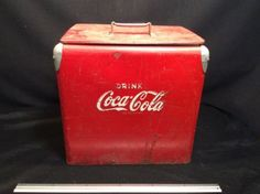 Unrestored 1950s Coca Cola Cooler / Ice Chest Caddy - Raised Lettering