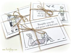 A set of three delightful vintage inspired postcards with inspirational quotes. They are part of the vintage children collection.  - Each postcard