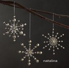 Restoration Hardware: Victorian Glass Mini Snowflakes / Hand-inset with faceted rhinestones and glass beads, our delicate snowflakes shimmer with light as they hang on the tree, just like the Victorian-era ornaments that inspired them. Beaded Christmas Ornaments, Snowflake Ornaments, Christmas Snowflakes, Handmade Ornaments, Beaded Snowflake, Hanging Ornaments, Snowflake Craft, Ornament Crafts, Snowman Ornaments