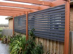 Wooden Outdoor Deck Privacy Screens | Fencing Fascinating Purple Privacy Slat Screens With Red Wood ...