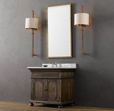Powder- St. James Single Vanity Sink Antiqued Coffee