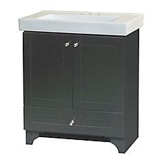 Magick Woods Cornerstone 30 W Vanity Ensemble in Dark Chocolate Finish Particle Board, Keep It Simple, Double Doors, White Ceramics, Magick, It Is Finished, Vanity, Woods, Storage