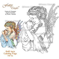 Dragonfly Fairy Printable Coloring book Sheets by Norma J Burnell
