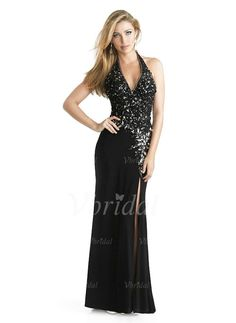 Evening Dresses - $167.98 - Sheath/Column Halter V-neck Floor-Length Chiffon Evening Dress With Beading Split Front (0175055872)