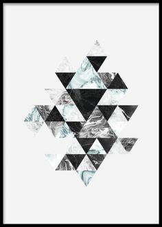 Grafiska affischer och planscher med marmor mönster. Trianglar i svart grått och turkost. Poster i storleken 50x70cm.