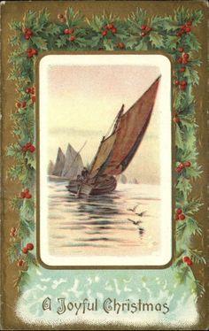 Christmas Sailboat Holly Berry Gilt Embossed Border c1910 Postcard
