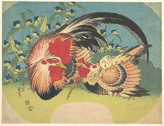 Rooster, Hen and Chicken with Spiderwort  Katsushika Hokusai  (Japanese, 1760–1849)  Period: Edo period (1615–1868) Date: ca. 1830–33 Culture: Japan Medium: Polychrome woodblock print; ink and color on paper