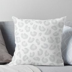 Silver Gray and White Leopard Print Throw Pillow Leopard Bedroom, Leopard Print Bedding, Leopard Pillow, Leopard Wall, White Leopard, Cheetah Print, White Throws, White Throw Pillows, Room Ideas Bedroom