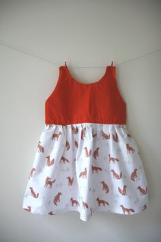 Girls fox dress an orange top with a gorgeous by SecretSquirrel13
