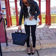All Black Fall Look | Aquazzura Amazon Pumps + Rag and Bone The Skinny + Zara Leather Jacket + Chicwish Top + Celine Mini Luggage #revolveme