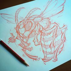 Rough Wasp Pencils. #wasp #tattoo #sketch #absorb81 #pencil #prismacolor #drawing #design #art