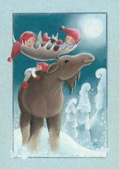 "Baby in the ""Bed"" of the Reindeer's Antlers, and one on the back. Illustration by Kaarina Toivanen"