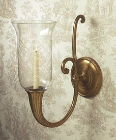 N845 - Antique Brass Horn Hurricane Wall Sconce - Candle Holder
