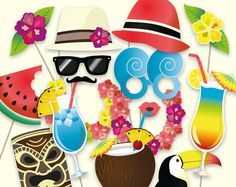 Hawaiian photo booth props: printable PDF. Luau photo booth props. Hawaiian party decorations. Beach party decor. Beach photo booth props
