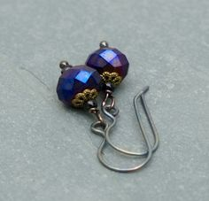Purple earrings with titanium ear wires by BijoubeadsLondon