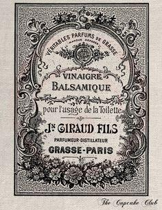 Clip Art Designs Transfer Digital File Vintage DIY Download Shabby Chic Perfume Parfum Grasse Eau de Toilette Paris France No. 0071