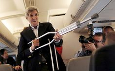 John Kerry turns crutches into a talking stick in Austria