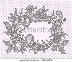 Black Lace. Romantic Frame. Floral Pattern.  - stock vector