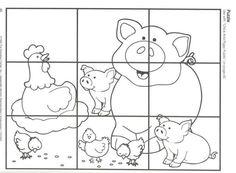 Puzzle animales de la granja. Proyecto escolar