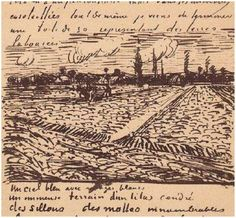 Letter Sketches, Arles: 1888 Private collection United States of America, North America Image Only - Van Gogh: Ploughed Field America Images, Earth Pigments, Dutch Painters, Blue Art, Vincent Van Gogh, Impressionist, Vintage World Maps, Around The Worlds, Sketches