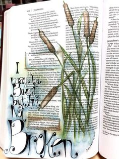 Isa Bible journal entry Bent but not broken. Bible Journaling For Beginners, Bible Study Journal, Scripture Study, Bible Art, Book Art, Art Journaling, Scripture Journal, Bible Drawing, Bible Doodling