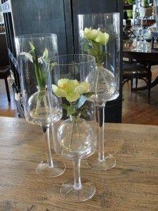 martinelli glass jars inside tall glass vases