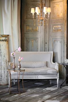 Living Rooms   Antique French Doors Rustic Wood Floors French Living Space  With Aidan Gray Isla Settee, Rustic Wood Floors, Aidan Gray Astre